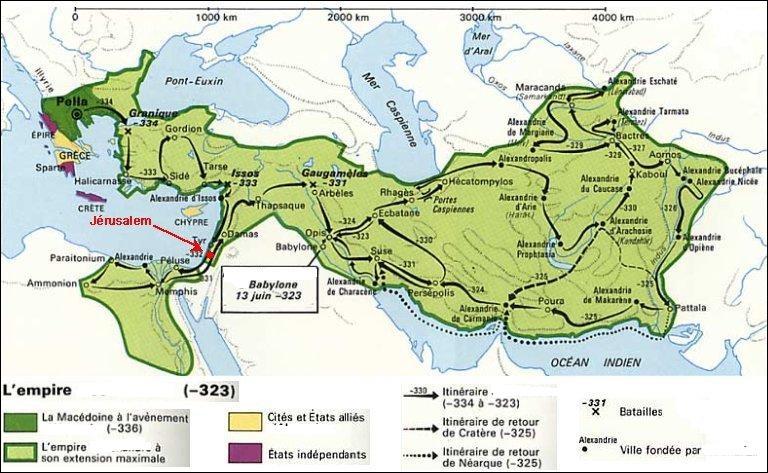 Entre 336 et 323 avant notre ère, de la Macédoine jusqu'à L'Indus et l'Hyphase, ce héros de l'histoire tenta de mettre en place un empire universel. Qui est-il ?