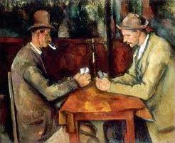 Les joueurs de cartes en peinture