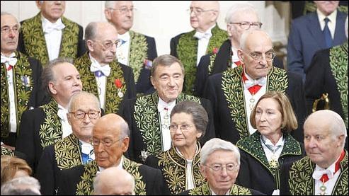 Gérontodrome  où les 40  papy-la-tremblotte  se réunissent pour que chacun se  déguise... en guignol vert . Quel humoriste taille un costume à l'Académie française ?