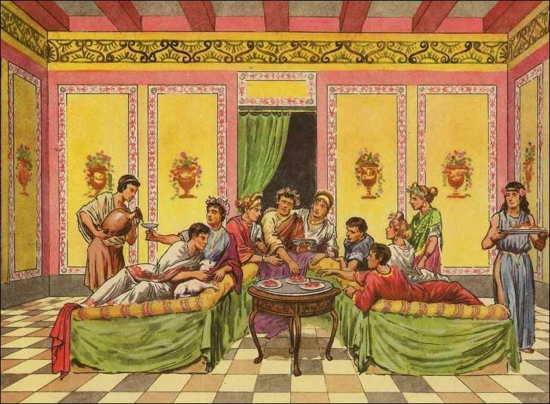 À l'époque républicaine, les romains aisés observaient des coutumes et une étiquette. Pour la  cena , le nombre minimum de convives pour une table était de ... , et le nombre maximum de ...