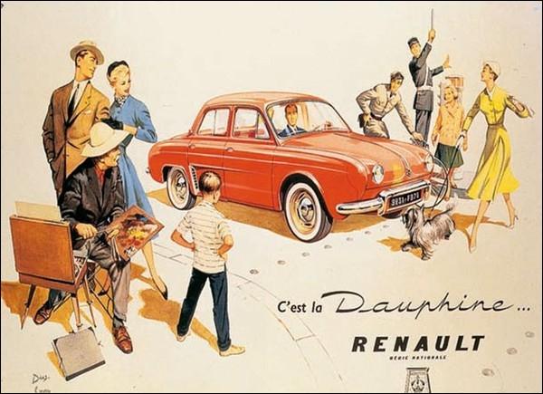 Une scène de société, idyllique, immortalisée pour tous. Pourquoi le nom de Dauphine fut-il attribué à cette automobile ?