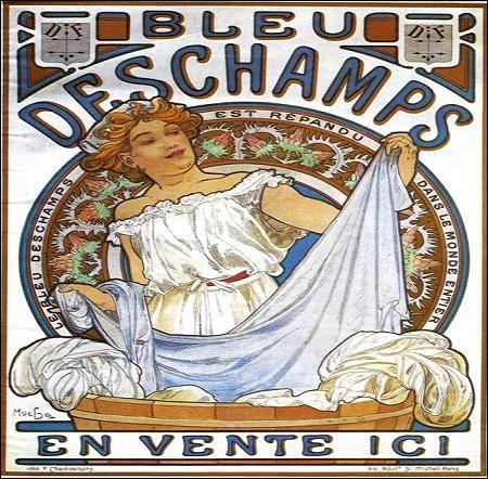Affiche d'Alphonse Mucha vantant gracieusement les mérites d'un produit pour le linge. À quoi servait-il ?