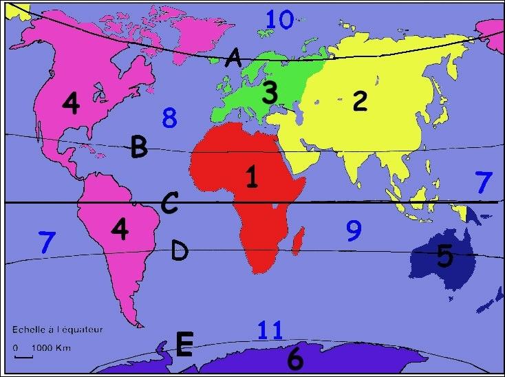 Quel continent représente le numéro 6 ?