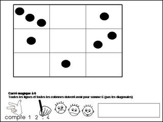La diagonale avec les chiffres 2, 5, 8 croise au chiffre 5 l'autre diagonale qui contient les chiffres 6, 5, 4. Qu'écrire en lignes centrales, verticale et horizontale se rencontrant au chiffre 5 ?