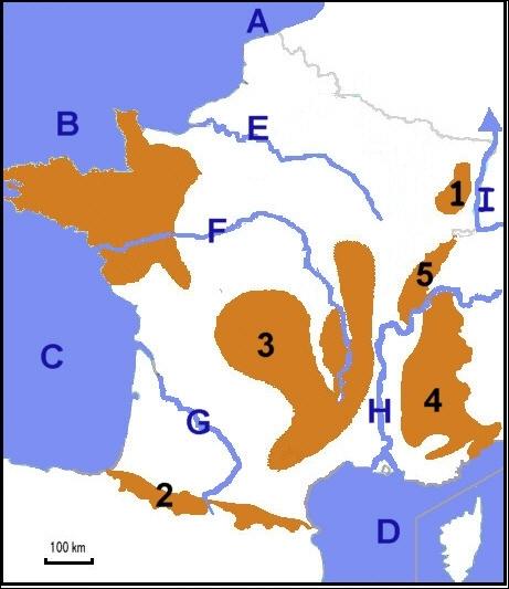 D'après l'image, quel fleuve est représenté par la lettre E ?