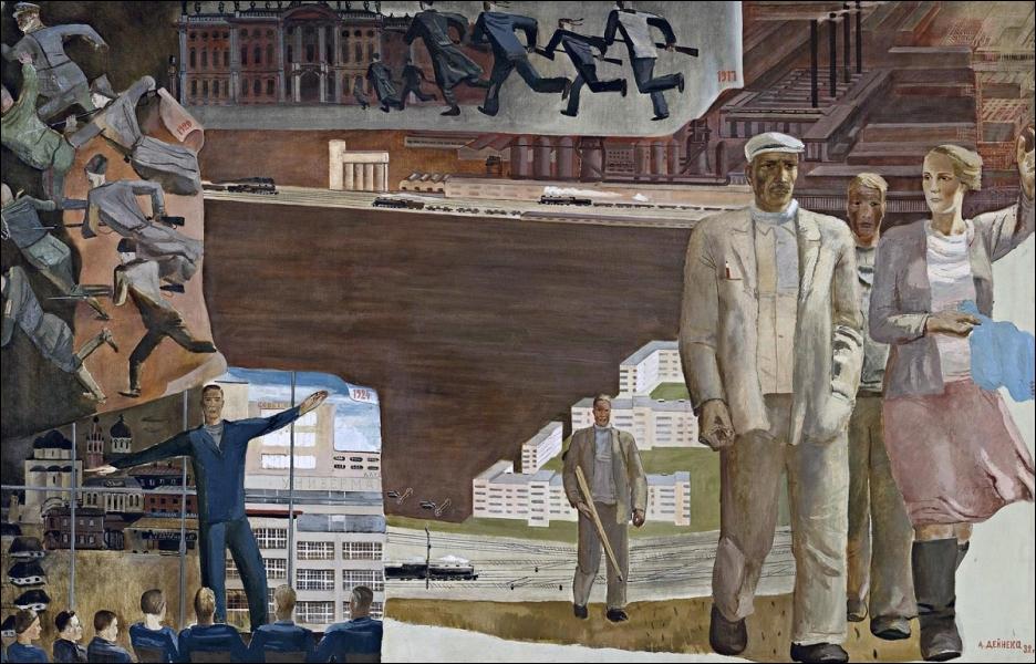 Dans cette peinture de 1932, le sociétique Aleksandr Deïneka oppose...