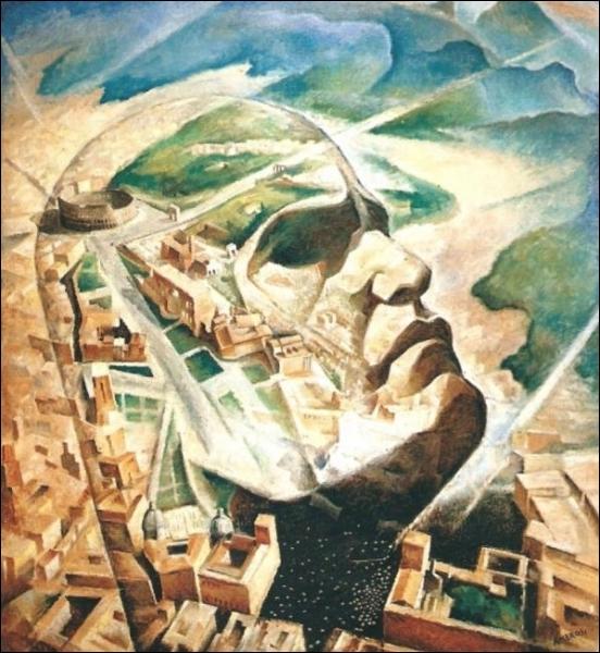 Ce portrait représente Mussolini sur fond de la nouvelle Rome fasciste. Il est peint par ...