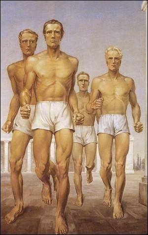 Cet artiste nazi a représenté des gymnastes aryens dans toute leur perfection plastique (1939). C'est le peintre ...