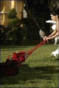 Quelle est la couleur de la robe de Gabrielle lorsqu'elle tond la pelouse ?