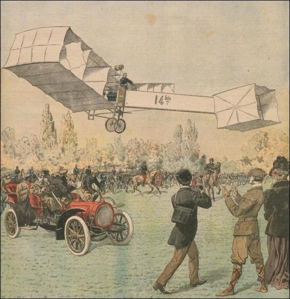 En 1906 dans le parc de Bagatelle, cet aviateur fait voler son aéroplane sur une distance d'une soixantaine de mètres « au-dessus de l'herbe » ... .