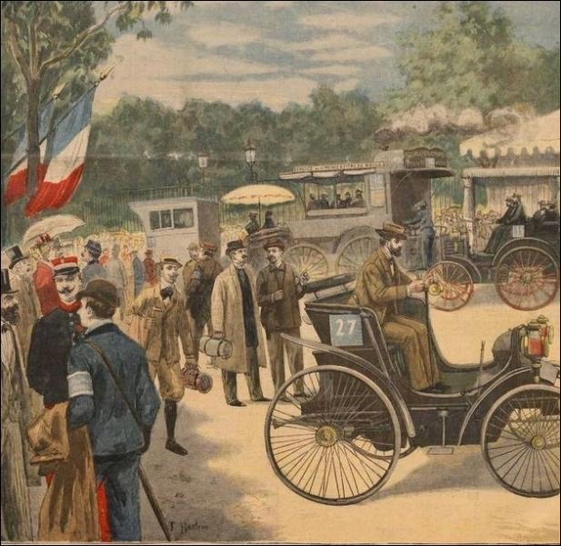 Ce fut la première course automobile de l'histoire, elle eut lieu le 22 juillet 1894 et remportée par une De Dion-Bouton, elle allait de Paris à ... .