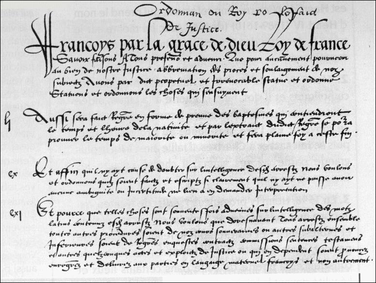 Quelle ordonnance permet, en 1539, le développement d'une puissante administration royale et déclare le français comme langue officielle du royaume ?