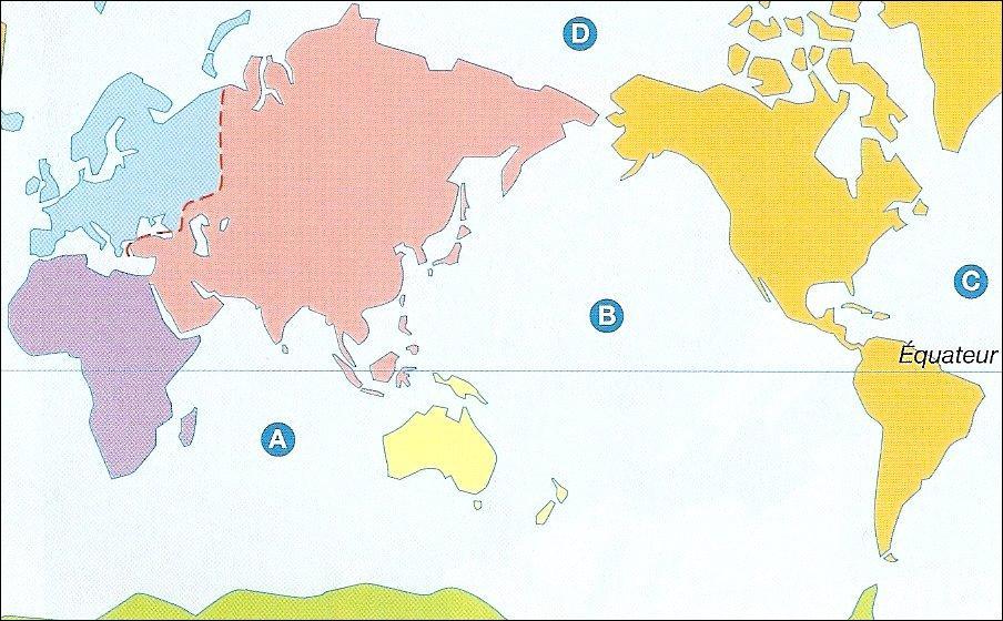A quel océan correspond la lettre A ?
