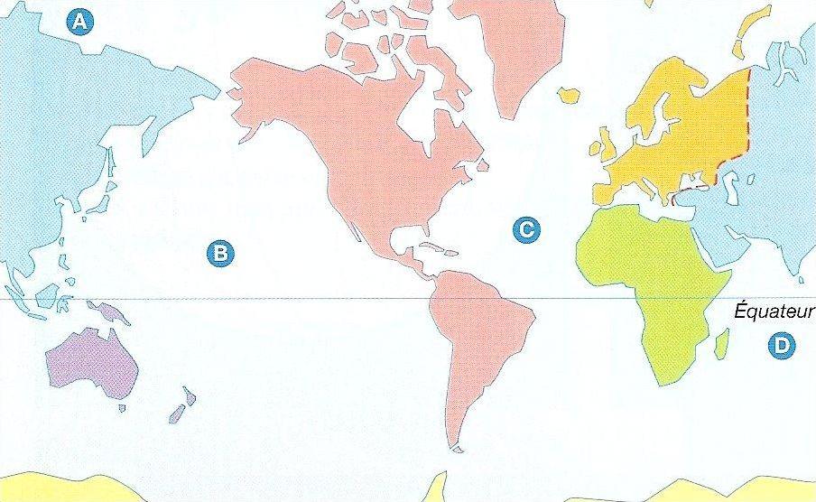 Identifier continents et océans sur différents planisphères