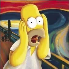 Homer a pris place sur cette peinture et il ... très fort. Oh pardon, il ... très fort. Le son n'est pas bon ? OK, complétez les pointillés avec un des ces noms, vous aurez la réponse.
