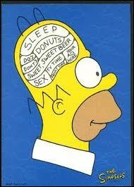 Que signifient les lettres M et G  dessinées  par les cheveux et les oreilles d'Homer ?