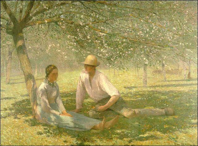 Qui a peint Jeune couple dans un verger au printemps ?