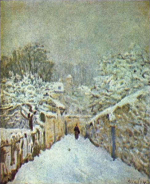 L'auteur de ce paysage de neige est né en 1839 à Paris et mort en 1899 à Moret-sur-Loing :