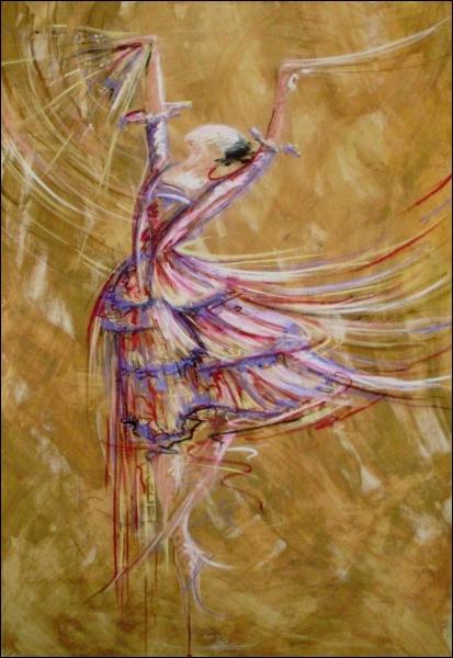 Peintre contemporaine travaillant le thème de la danse :