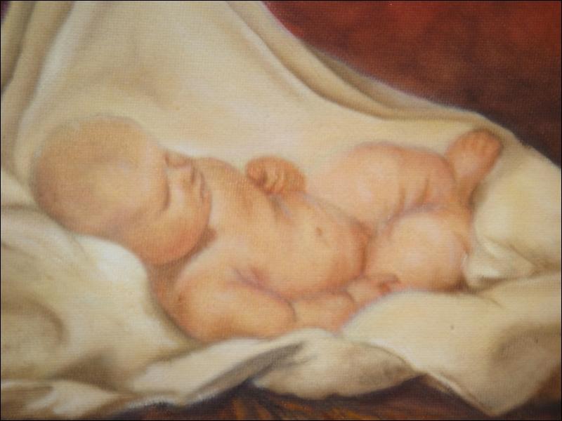 Copie d'un détail d'une  Nativité  peinte par l'un des artistes espagnols de génie...