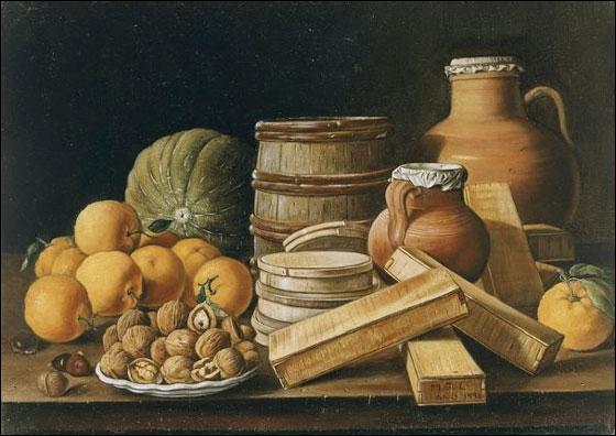 L. E Meléndez naquit à Naples, décéda à Madrid. Il excella dans la peinture des natures mortes au dessin précis, aux couleurs lumineuses. Musée National Gallery. Où se trouve donc le tableau ?