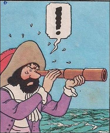 Que voit l'ancêtre du capitaine Haddock dans sa longue vue ?