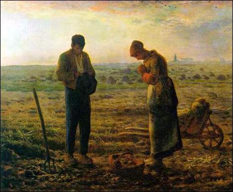 Les mains se joignent en signe de prière, paume contre paume. Où fut peint le tableau de J. F Millet,  L'Angélus  ?