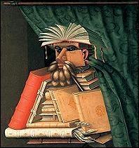 On connaît ce peintre maniériste pour les nombreux portraits suggérés par des végétaux, des animaux mais aussi par des objets astucieusement disposés. Qui a composé  Le bibliothécaire  ?