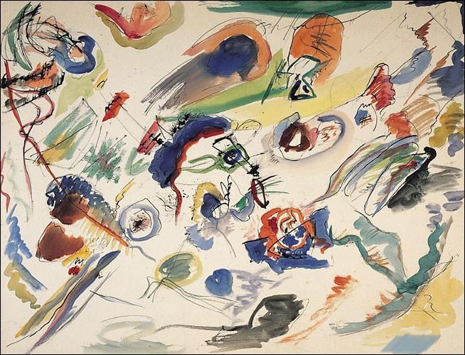 Cette aquarelle peinte en 1910 est considérée comme la première oeuvre non figurative de l'histoire de l'art moderne. Qui en est l'auteur ?