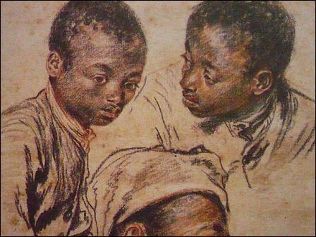 """Rococo en France. Fusain, sanguine, rehauts de craie blanche sur papier ... pour """"Trois études de la tête d'un jeune noir"""" de ... . Complétez en place des pointillés."""
