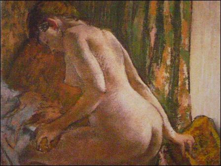 """Impressionnisme. Presque tous les impressionnistes ont beaucoup dessiné au pastel dont ... . Cette composition porte le titre : """"Après le tub""""."""