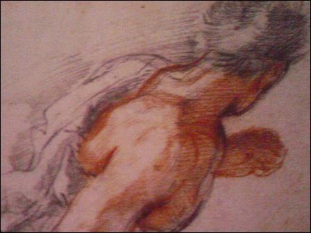 """Baroque. Un dessin, fusain et sanguine, représentant un personnage courant, de l'artiste connu pour """"La Rencontre de Joseph et Rachel""""."""