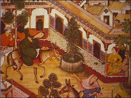 L'art islamique. Richesse de l'ornementation des maisons et des palais. L'aquarelle est peinte avec des couleurs opaques et or. Sur quoi cela est-il peint ?