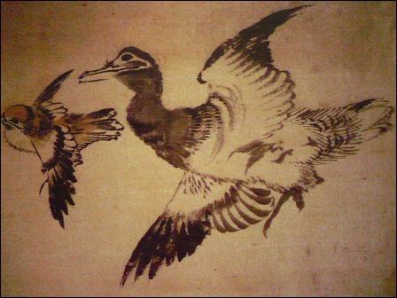 Japon. On attribue 30 000 œuvres à Katsushika Hokusai : peintures, gravures, dessins. Quel titre porte ce lavis d'encre de Chine et d'aquarelle ocre ?
