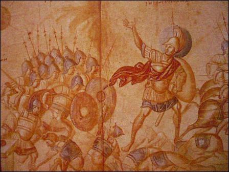 """Art médiéval en Europe. """"Le rouleau de Josué"""", encre à la plume et lavis, représente un personnage biblique peint dans un """"volumen"""". Qu'est-ce que le """"volumen"""" ?"""