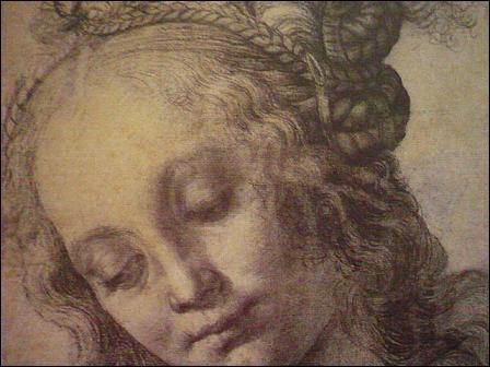 """XVe siècle. """"Tête de femme avec une coiffure compliquée"""", fusain noir rehaussé de blanc. Qui est l'artiste ?"""
