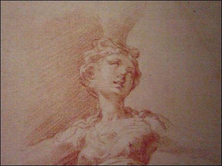 """XVIe siècle. Tracé à la sanguine pour cette """"Étude de cariatide"""" faite par Le Parmesan. Quel composé chimique entre dans la sanguine ?"""