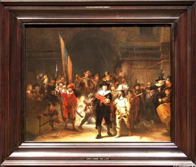 Ce tableau représentant une compagnie de la milice bourgeoise des mousquetaires d'Amsterdam et intitulé  La Ronde de nuit , a été peint en 1642 par ... . .