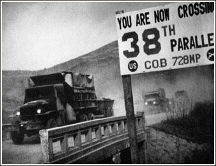 En quelle année se termine la guerre de Corée, premier réel conflit militaire de la guerre froide ? (photo : Séparation du 38ème parallèle, divisant les deux Corées jusqu'en 1950)