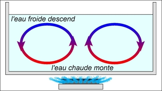 Quand la chaleur se transmet d'un point à un autre à travers un fluide suite à un déplacement de la matière, on dit qu'elle se propage par …