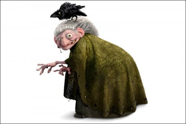 Qui est cette sorcière plus folle que méchante mais qui toutefois sera à l'origine des graves ennuis de l'héroïne du film d'animation Disney/Pixar où elle se trouve ? Quel est ce film ?