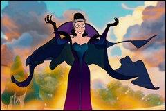 Dans quel Disney, fait en animation et en prises de vues réelles, se moquant des films d'animation 1ère génération Disney, retrouve-t-on cette méchante ? Quel est son nom ?