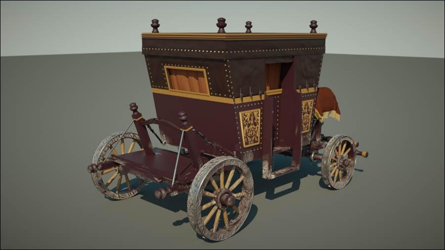 Quel est le nom de ce lourd véhicule attelé hippomobile fermé, servant au transport de personnes ?