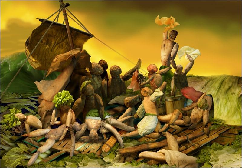 Réalisée par Ju Duoqi, cette toile composée de légumes est une reprise de l'oeuvre d'art  le Radeau de la Méduse . Qui est l'auteur de l'oeuvre originale ?