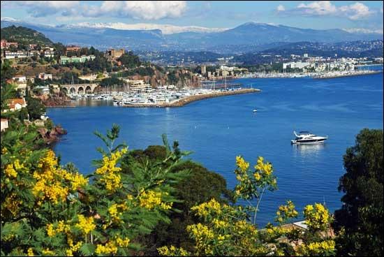 La ville de Mandelieu-la-Napoule à l'embouchure de la Siagne et dominée par le cône volcanique du San Peyre est :