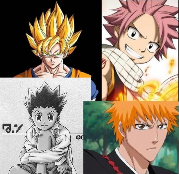 Sangoku, Natsu, Gon et Ichigo. Ils ne risquent pas de se croiser, et pourtant qu'est-ce qu'ils se ressemblent !