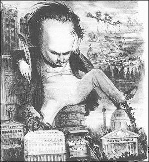 La caricature le représente un pied posé sur le théâtre français, l'autre sur l'Académie française ; elle force le trait sur l'influence que cet auteur put avoir dans le domaine littéraire.