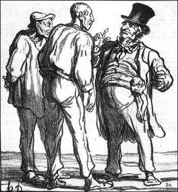 Paru dans le Charivari du 30 avril 1870. Qui est le caricaturiste croquant, ici, une discussion entre les paysans et le politique ?
