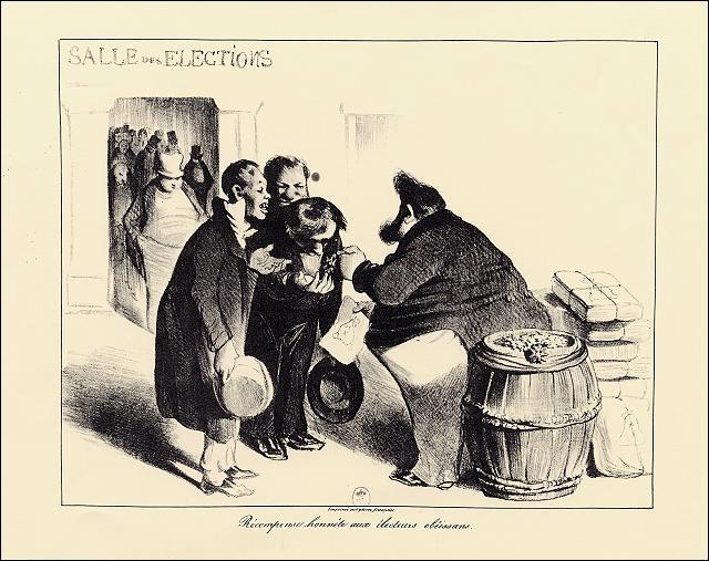 Satire parue dans La Caricature, 17 juillet 1834.  Récompense honnête aux électeurs obéissants .