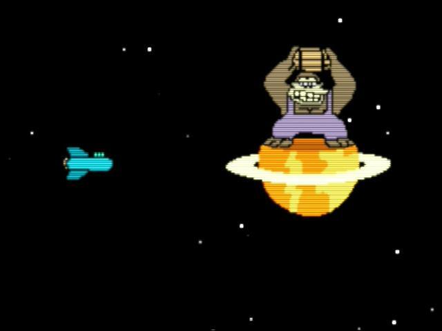 Chez Fry, à la fin de l'univers, il y a un gros gorille qui lance des tonneaux.